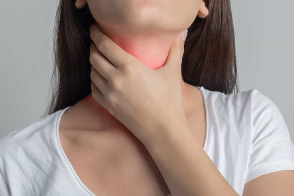 Woman Holding Her Throat | Burt's Pharmacy and Compounding Lab